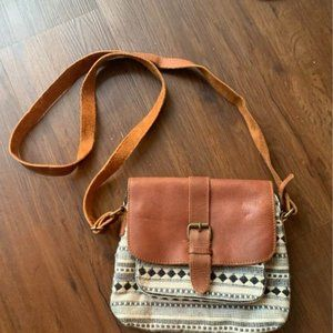 Fat Face Crossbody Purse Bag Leather and Woven Bag